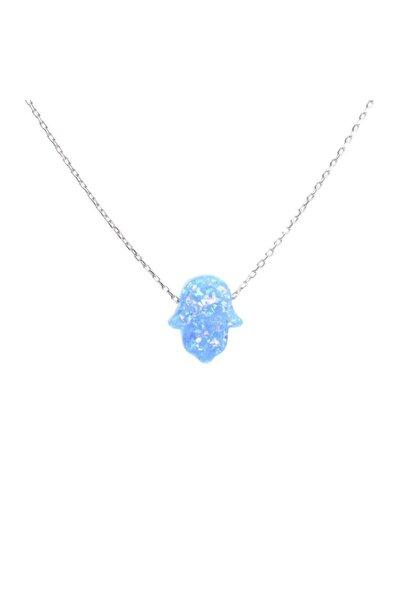 925 Ayar Gümüş Mavi Opal Taşlı Fatma Ana Eli Kolye