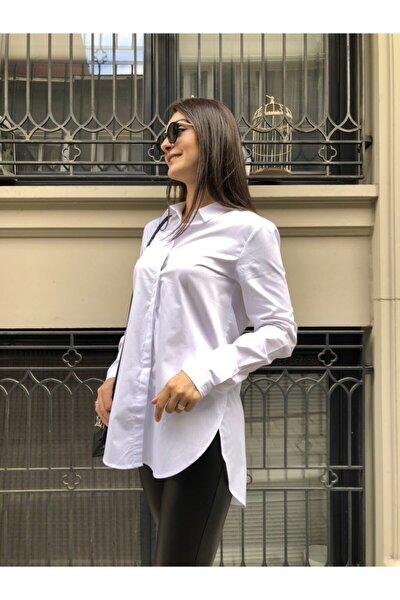 Kadın Beyaz Boyfriend Gömlek