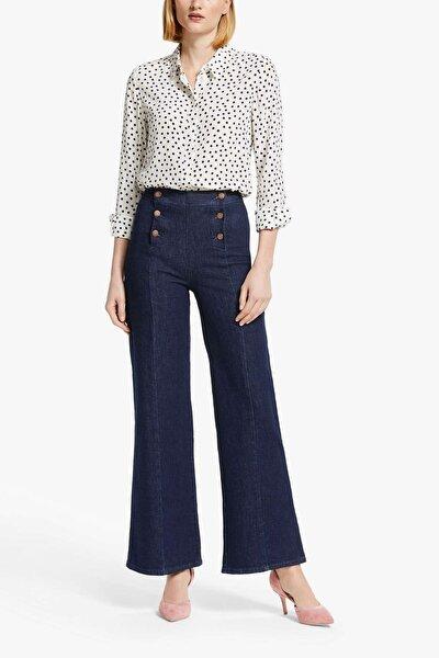 Kadın Koyu Mavi Önden Düğmeli Yüksek Bel Kot Pantolon