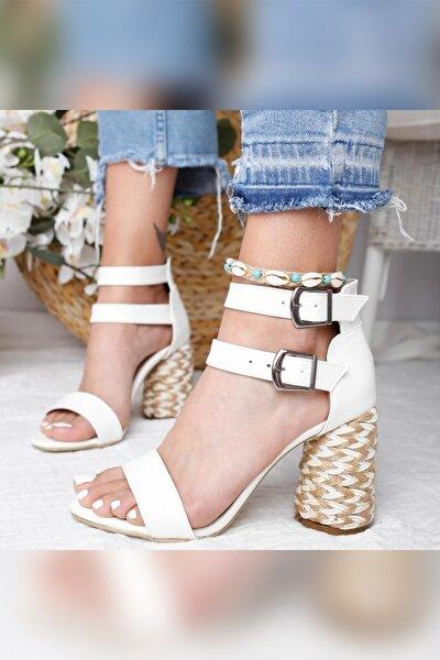 Galilea Beyaz Çift Bantlı Gerçek Hasır Topuklu Sandalet