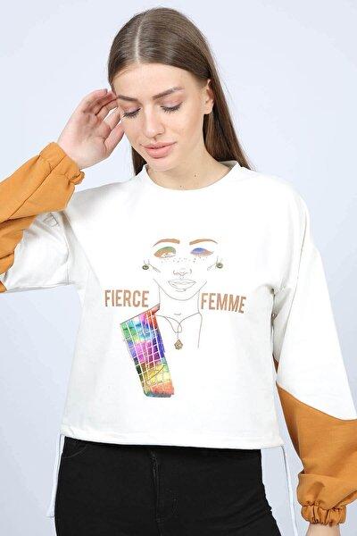 Kadın Ekru Büzgülü Baskılı Sweatshirt