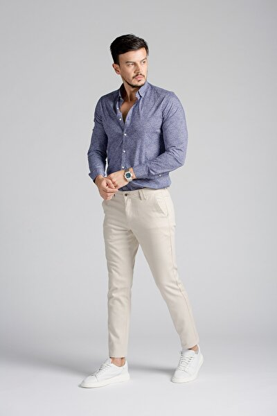 Erkek Bej Pamuklu Standart Fit Chino Pantolon