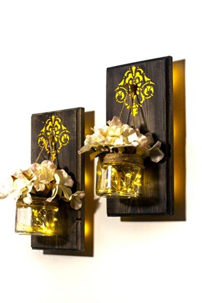 2'li Ahşap Duvar Dekor Pilli Led Duvar Süsü Aplik Çerçeve Dekoratif Kavanoz Gece Lambası