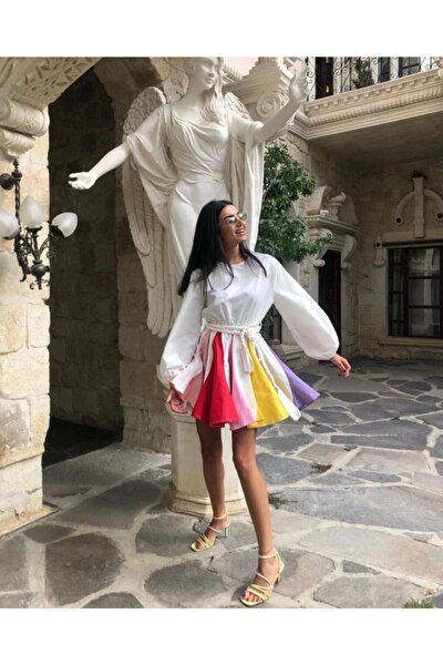 Kadın Beyaz Renkli Lambada Elbise