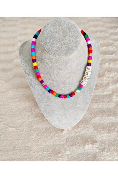 Renkli Cam Boncuk Hope Yazılı Tasarım Kolye