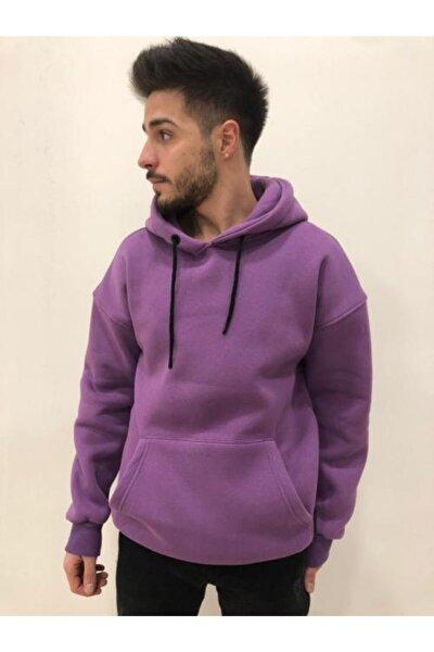 Unisex Mor Kapüşonlu Sweatshirt