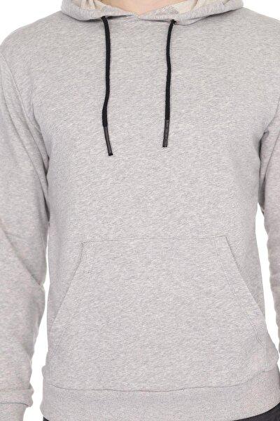 Erkek Gri Kapüşonlu Kanguru Cepli Uzun Kollu Sweatshirt