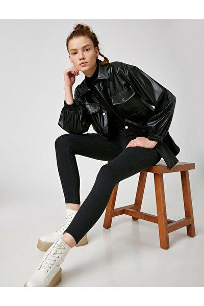 Kadın Siyah Pamuklu Yüksek Bel Jegging Jeans