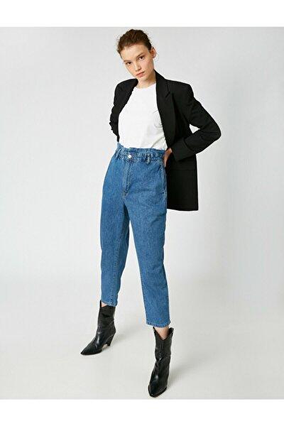 Kadın Mavi Pamuklu Yüksek Bel Jeans