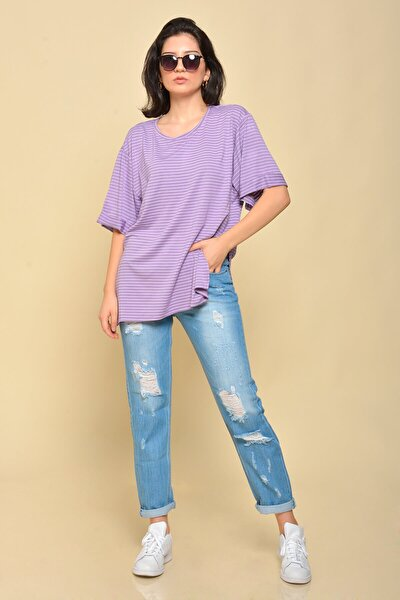 ;Kadın Lila Boyfriend Çizgili T-shirt