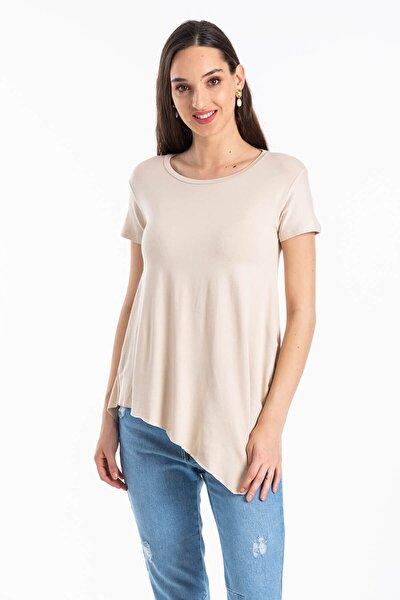 Kadın Bej Asimetrik Kesim Basic T-shirt