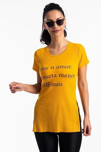Kadın Sarı Yırtmaçlı Kaşkorse T-shirt