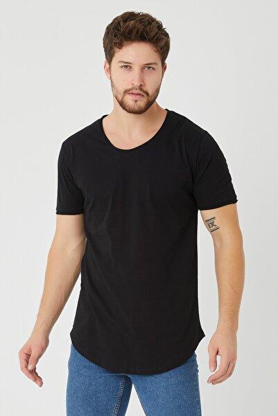 Erkek Siyah Pis Yaka Salaş T-shirt