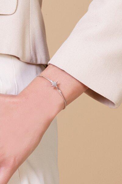 Kadın Beyaz Kutup Yıldızı Figürlü Zincirli Gümüş Kelepçe Bileklik