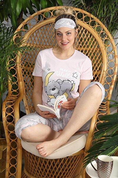 Kadın Pembe Kısa Kol Kapri Pijama Takım