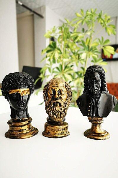Eskitme Beton Büst Bach & Hermes & Socrates Heykeli