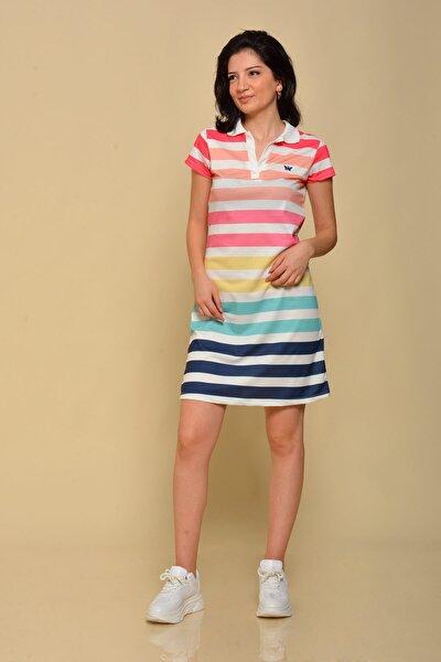 Kadın Pembe Çizgili Yazlık Elbise