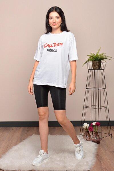 Kadın Beyaz Baskılı Salaş T-shirt