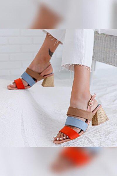 Kadın Pudra Kum Bebe Mavisi Portakal Alçak Hasır Topuklu Sandalet