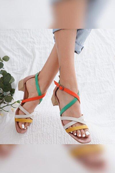 Kadın Malaya Yeşil Portakal Ten Hardal Süet Multi Alçak Topuklu Sandalet