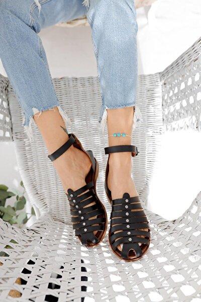 Kadın Siyah Hakiki Deri Parmakları Kapatan Bodrum Sandalet