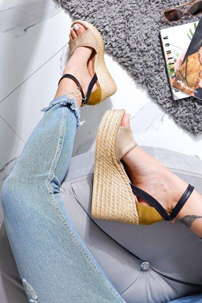 Kadın Haki Lacivert Ten Süet Kemerli Dolgu Taban Sandalet