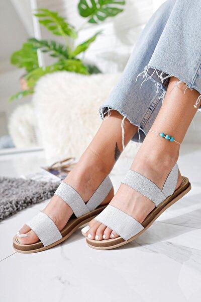 Kadın Gümüş Lastikli Eva Tabanlı Comfort Hafif Sandalet