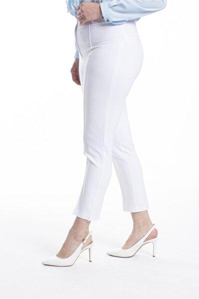 Kadın Beyaz Bilek Boy Dikişli Pantolon PT2146