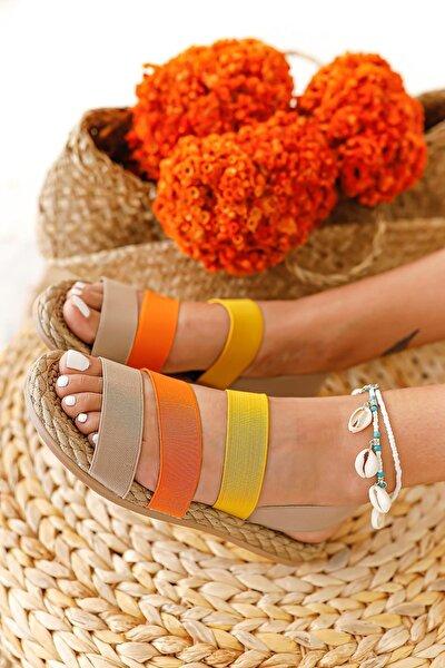 Kadın Bej Portakal Limon Lastik Sandalet