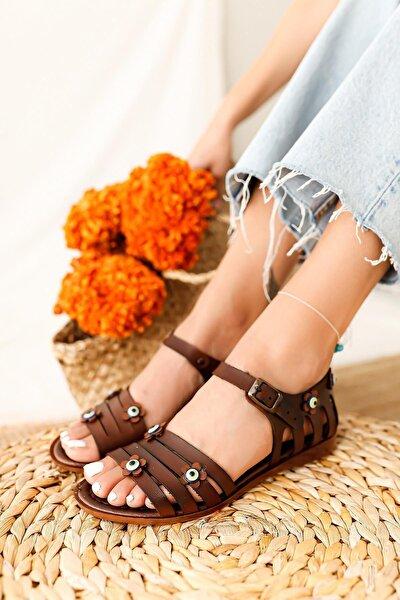 Kadın Taba Hakiki Deri Nazar Boncuğu Detaylı Sandalet