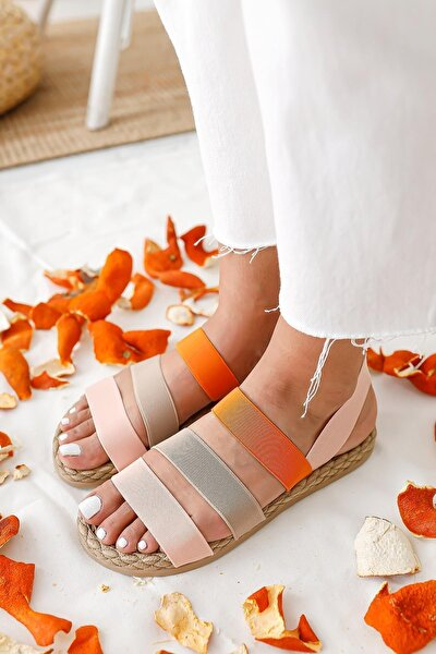 Kadın Pudra Kum Oranj Lastik Sandalet