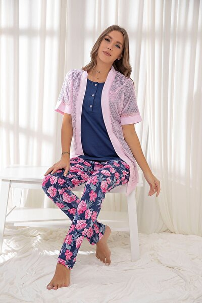 Fuşya 3'lü Pamuklu Sabahlıklı Pijama Takım
