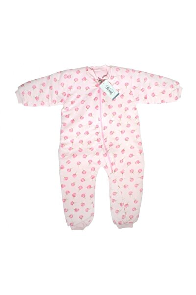 Uyku Tulumu Kız Bebek Pembe Gül Baskılı Organik
