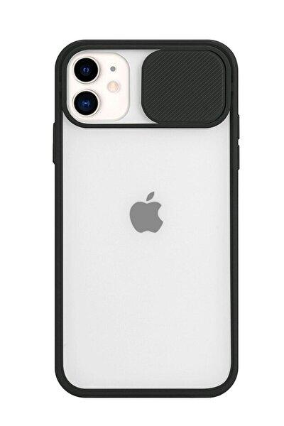 Apple Iphone 11 Slayt Kamera Lens Korumalı Siyah Telefon Kılıfı