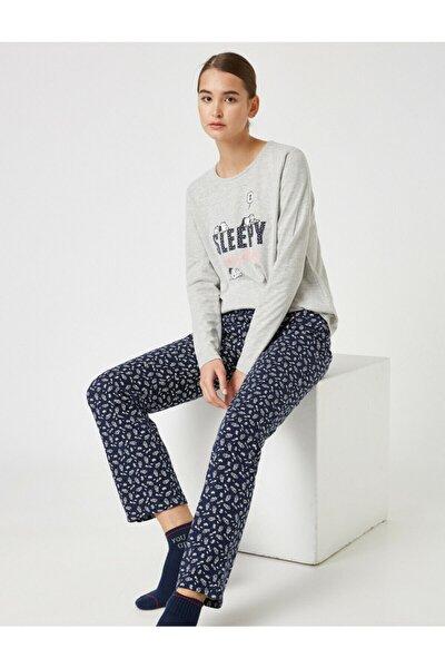 Kadın Lacivert Pamuklu Snoopy Lisansli Pijama Takımı
