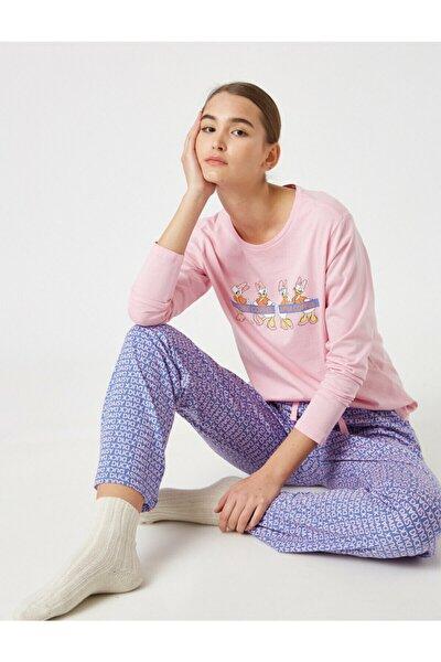 Kadın Mor Pamuk Disney Lisanslı Pijama Takımı