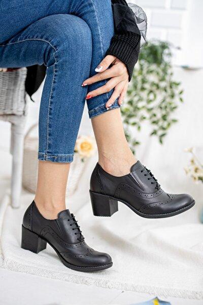Kadın Siyah Hakiki Deri Oxford Ayakkabı