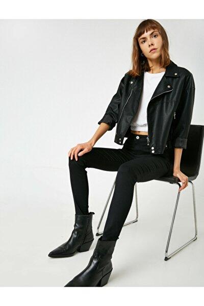 Kadın Siyah Pamuklu Skinny Yüksek Bel Jeans