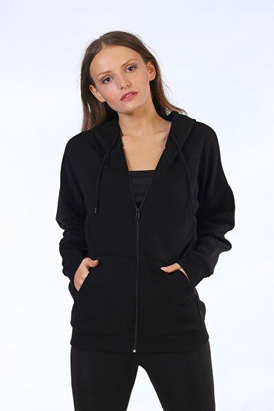 Kadın Siyah Kapşonlu Cepli Fermuarlı Sweatshirt