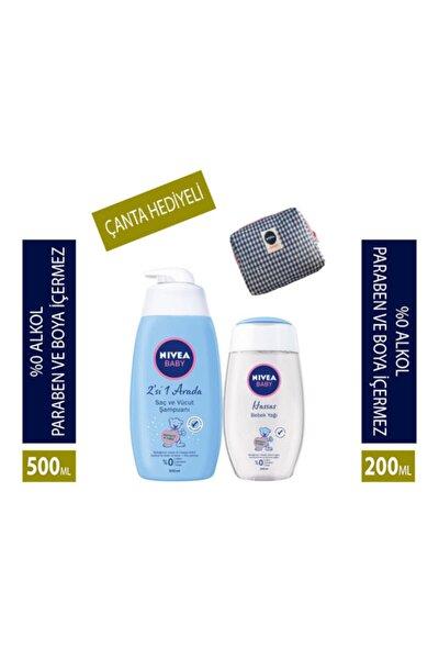 Saç Ve Vücut Şampuanı Bebek 500 Ml + Bebek Yağı 200 Ml + Bakım Çantası
