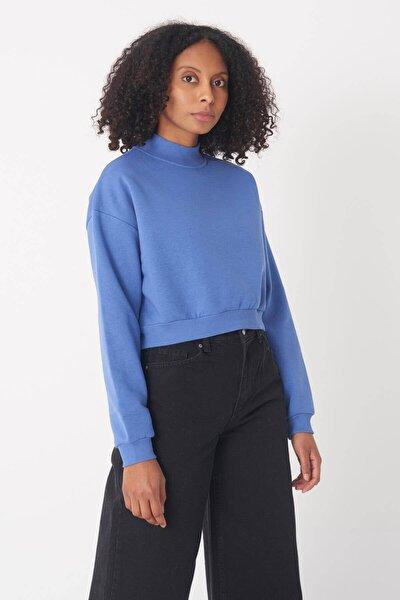 Kadın Mavi Yarım Balıkçı Yaka Kısa  Sweatshirt S8625 - B9 ADX-0000020605