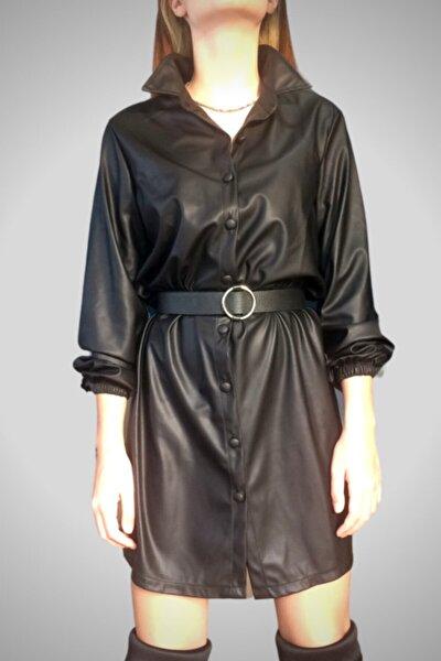 Kadın Siyah Deri Gömlek Elbise