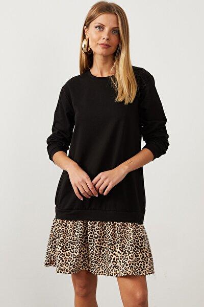 Kadın Siyah Leopar Desenli Sweat Elbise B16