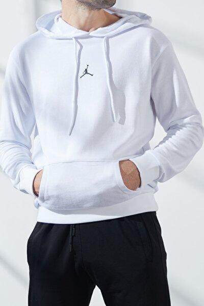 Erkek Beyaz  Üç Iplik Jordan Baskılı Kapüşonlu Sweatshirt