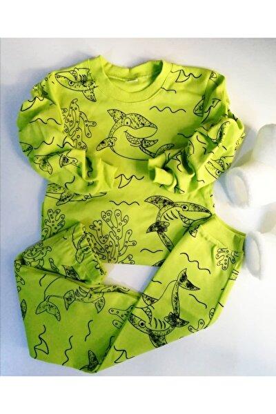 Unisex Çocuk Fıstık Yeşili Köpek Balığı Baskılı Pijama Takım