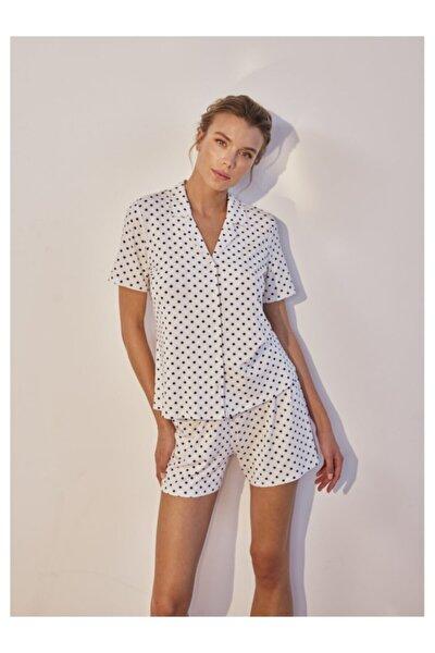 Yumuşak Puantiye Baskılı Esnek Pijama