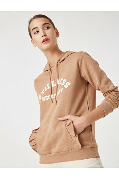 Kadın Kahverengi Pamuklu Kapüşonlu Yazılı Baskılı Sweatshirt
