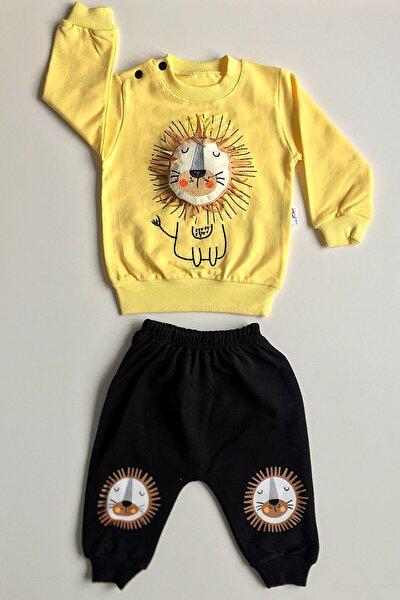 Kız Bebek Sarı Aslanlı Alt Üst Takım