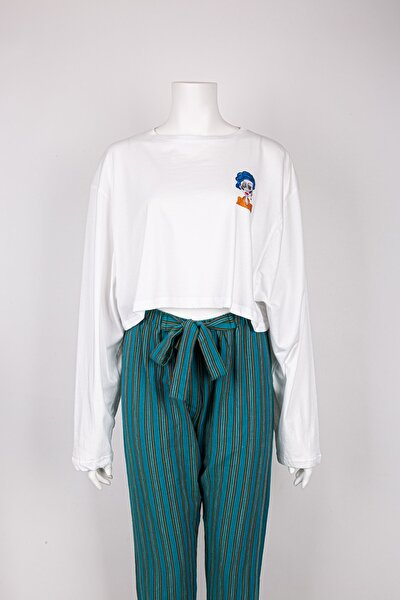 Crop Top Tasarım Illüstrasyon Kadın Tshirt