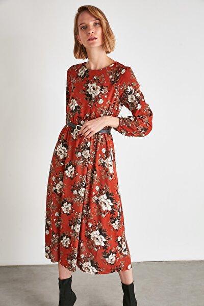 Çok Renkli Çiçek Desenli Elbise TWOAW21EL1006